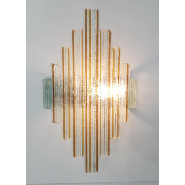 Metal Murano Glass Icicles Stacked Sconces by Poliarte - a Pair For Sale - Image 7 of 9