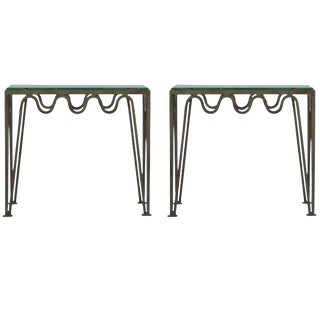 'Méandre' Painted Steel and Glass Side Tables by Design Frères - a Pair For Sale