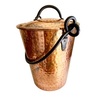 Rustic Hammered Copper Vessel With Lid For Sale