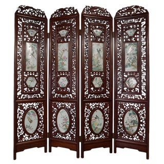 Antique Chinese Rosewood Room Divider For Sale