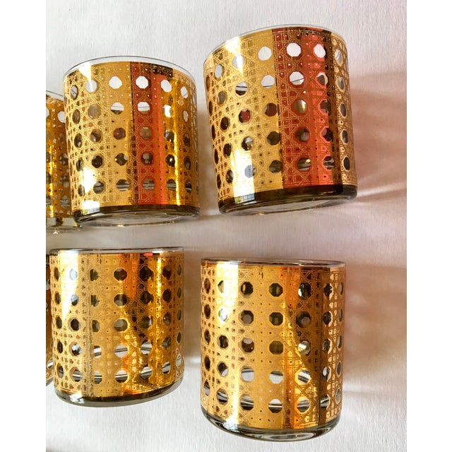 Gold Gilt Cane Patterned Motif Cocktail Glasses - Set of 8 For Sale In New York - Image 6 of 7