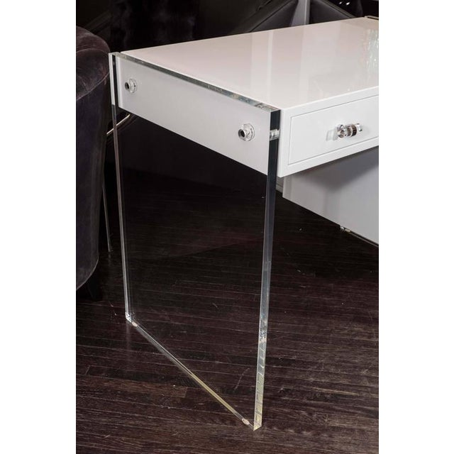 Modern White High Gloss Lacquer Desk with Lucite Side Panels For Sale - Image 3 of 7