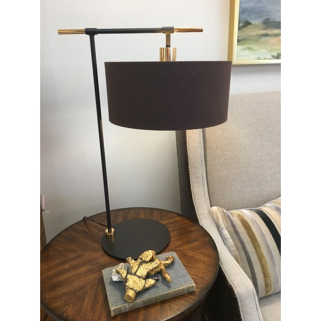 2010s Balance Brown/Polished Brass Table Lamp For Sale - Image 5 of 7