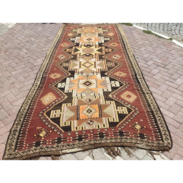 Large Brown Turkish Kilim Runner For Sale - Image 11 of 11