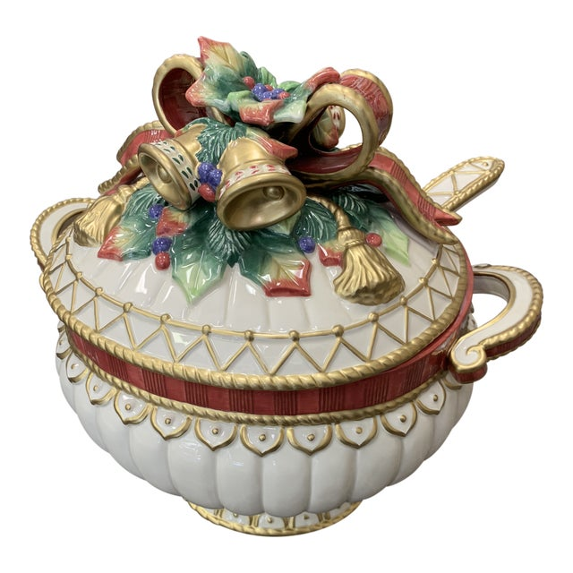 Fitz & Floyd Christmas Deer Tureen with Lid and Ladle For Sale