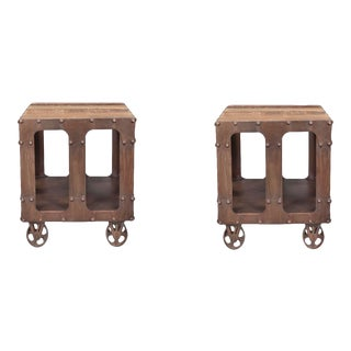 Industrial Karel Wooden Top End Tables - a Pair For Sale