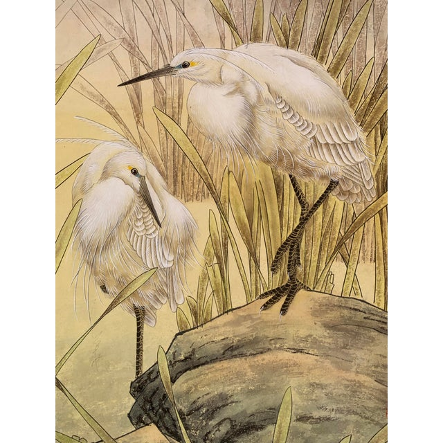 "Contemporary 1970s Vintage ""Two Egrets in Bushes"" Chinese Scroll Painting For Sale - Image 3 of 6"