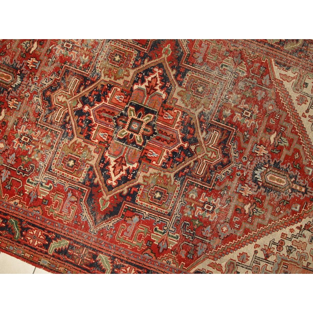 1920s Hand Made Antique Persian Heriz Rug - 5′7″ × 8′1″ - Image 8 of 10
