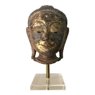 An Exquisite Antique Buddha Head Statue For Sale
