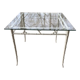 Vintage Hollywood Regency Kessler Faux Bamboo Table For Sale