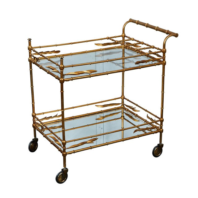 Gold Mid-Century Faux Bamboo Bar Cart For Sale - Image 8 of 8