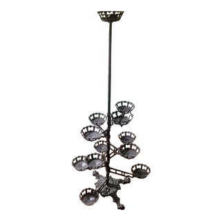 Victorian Era Swing Arm Cast Iron Plant Stand For Sale