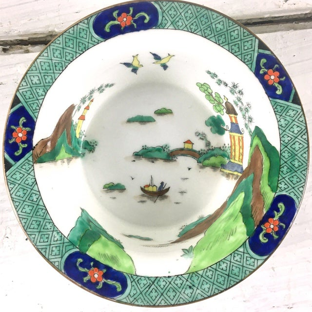 Glass John Aynsley 1910s Asian Inspired English China Finger Bowls With Under Plates and Syrup Pitcher - 12 Piece Set For Sale - Image 7 of 12