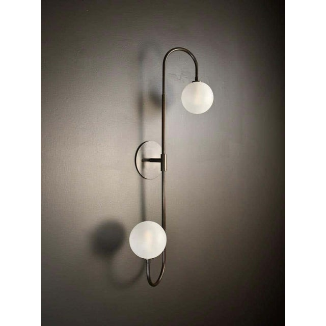 Piega Wall Lamp or Flushmount in Oil-Rubbed Bronze & Glass by Blueprint Lighting For Sale In New York - Image 6 of 8