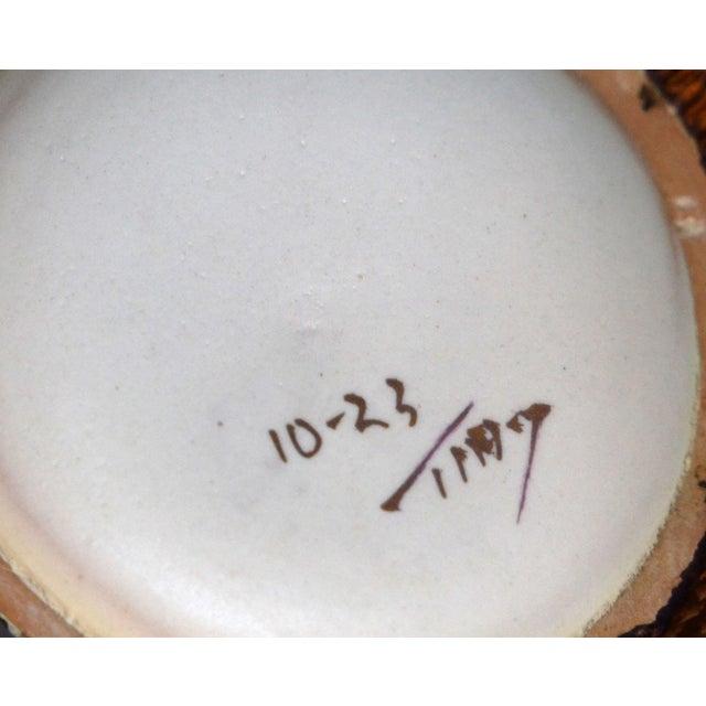 Italian Mid-Century Modern Gold Leaf & Beige Hand-Crafted Ceramic Glazed Vase For Sale - Image 9 of 11