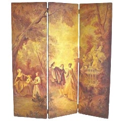 Antique 19th C. French Hand-Painted Screen For Sale