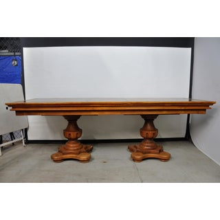 Antique Double-Pedestal Dining Table With Inlay Top Preview