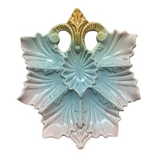 Late 19th Century Antique French Majolica Oyster Plate For Sale