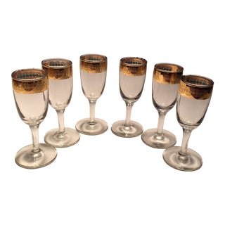 Mid-Century Gold Rimmed Crystal Aperitif Glasses - Set of 6
