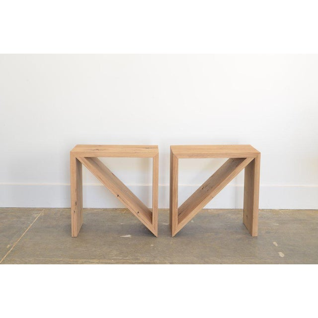 OZ|SHOP Isosceles Side Tables - in natural finish. Benchmade by OZ|Shop woodworkers in Arizona. Made from Reclaimed French...