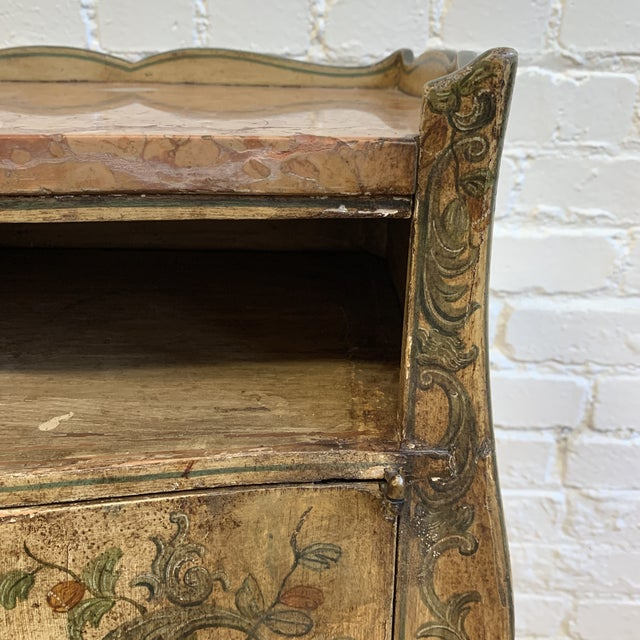 Early 20th-Century French Inspired Hand Painted Side Cabinet + Marble Top For Sale - Image 9 of 12