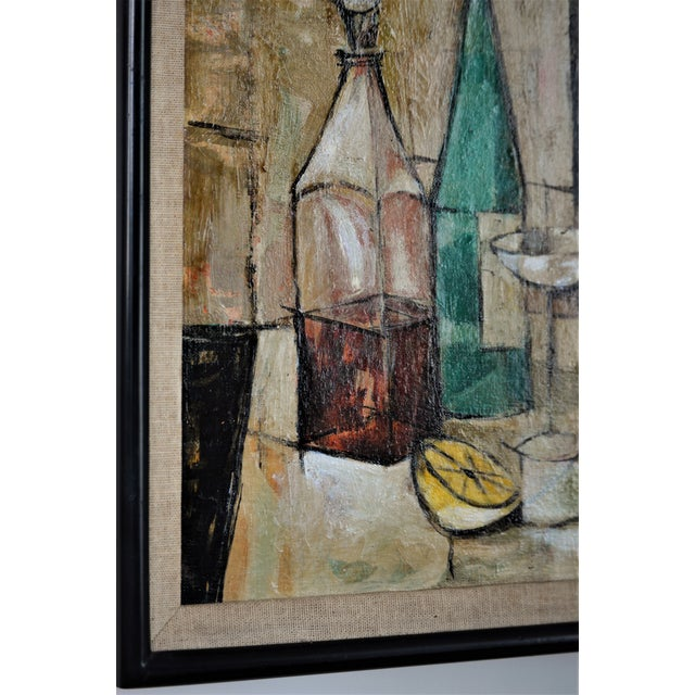 1950s Mid-Century Modern Cubist Oil Painting by Kero S. Antoyan Abstract Expressionism Millennial Pink - Image 4 of 11