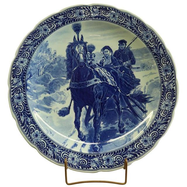 1920s Plate, Petrus Regout Blue Delft Carriage Large For Sale - Image 5 of 5