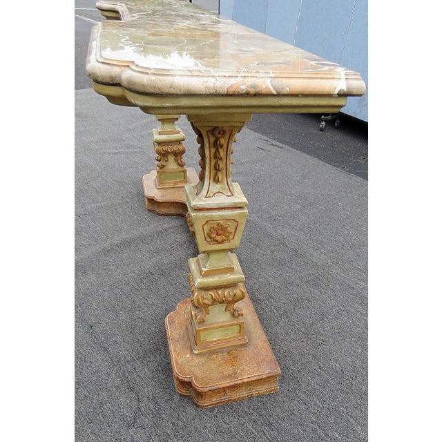Wood Florentine Marble Top Console Table For Sale - Image 7 of 9