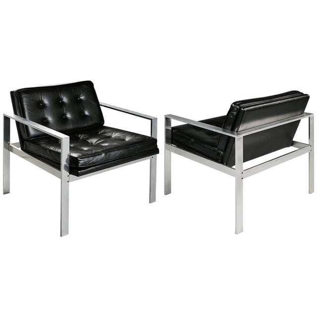 1960s Harvey Probber Aluminum and Black Tufted Leather Armchairs - a Pair For Sale - Image 11 of 11