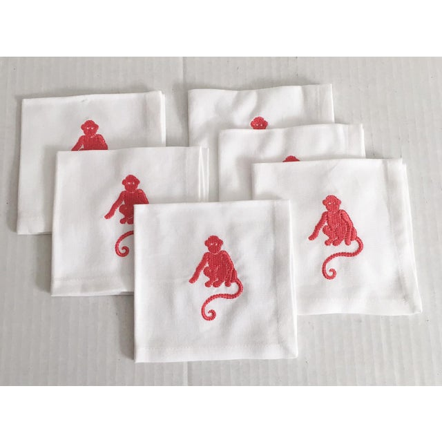 Pink Embroidered Monkey Cocktail Napkins - Set of 6 - Image 2 of 4
