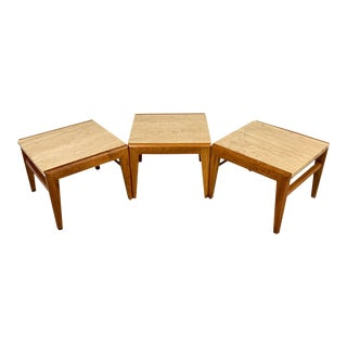 Mid-Century Walnut and Travertine Stools by Jens Risom- Set of 3 For Sale