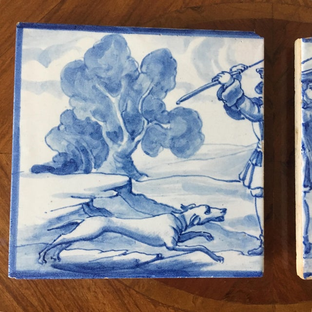 Traditional Vintage Portuguese Blue and White Tiles-A Pair For Sale - Image 3 of 8