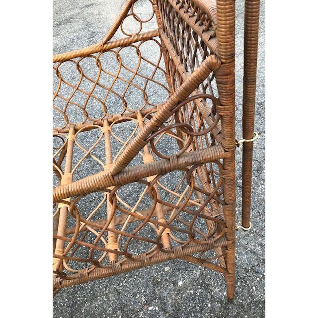 Antique Victorian Wicker Youth Bed With Quarter Canopy Bed by Heywood Brothers Gardner Ma For Sale - Image 10 of 13