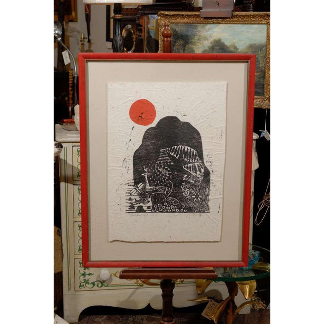 A 20th century woodblock print by American artist, Jim Tanaka (1917-2008), titled Clausland Mountain. The woodblock...