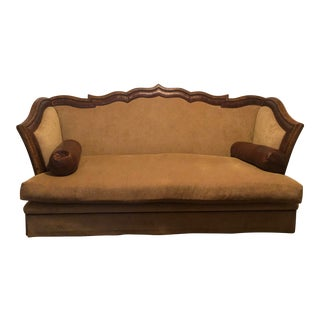 Marge Carson Lizette Sofa With Leather Roll Pillows For Sale