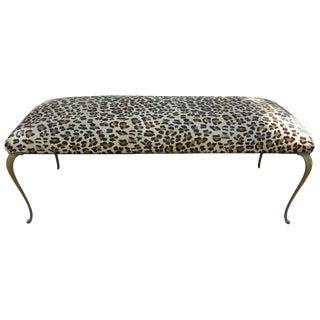 1960s Italian Gio Ponti Inspired Leopard Print Upholsterd Brass Bench