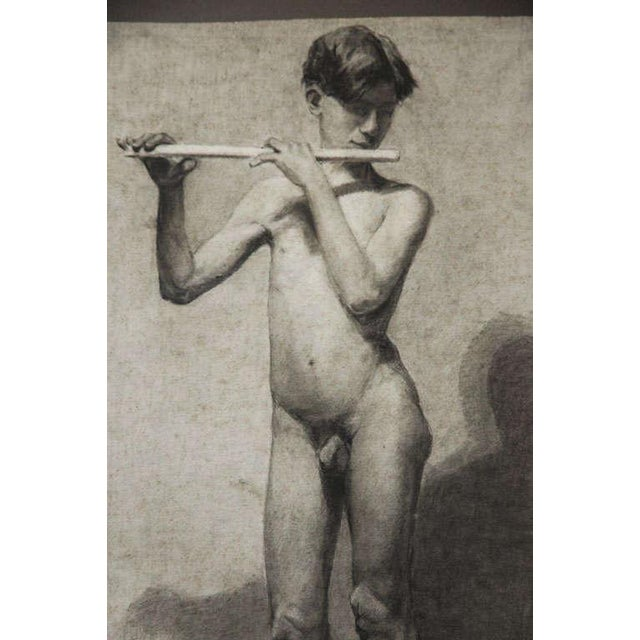 Paper Pair of Charcoal Italian Male Nude Drawings From 1880 For Sale - Image 7 of 10