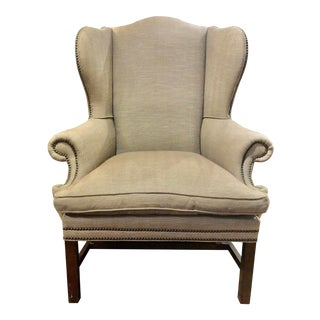 Ralph Lauren Upholstered Devonshire Wing Chair For Sale