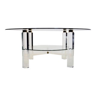 Glamorous Lucite, Brass and Glass Coffee Table, Belgium 1970s