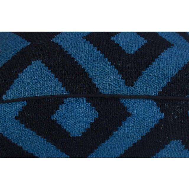 Contemporary Shabby Chic Arshs Deloris Lt. Teal/Black Kilim Upholstered Handmade Ottoman For Sale - Image 3 of 8