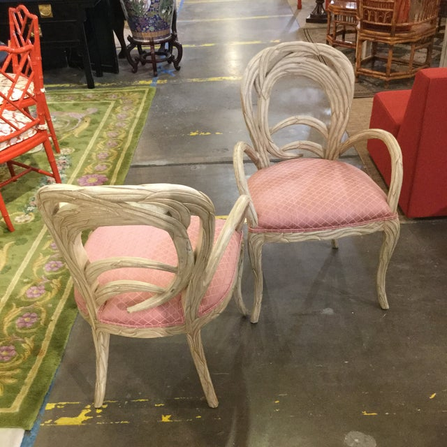 Hollywood Regency 1990s Hollywood Regency Pink Upholstered Carved Occasional Chairs - a Pair For Sale - Image 3 of 4