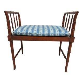 1990s French Baker Furniture Faux Bamboo Foot Stool Bench For Sale