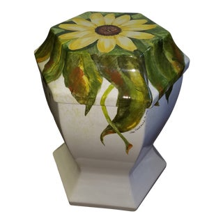 1970's Vintage Boho Chic Hand Painted Sunflower Garden Seat, Signed For Sale