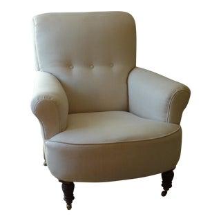 Victorian Cream Linen Armchair