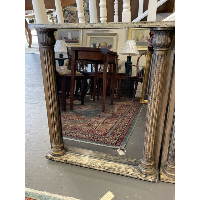 Pair of 1930s architectural cabinet doors with Classical Revival column elements re-purposed as wall hung mirrors....