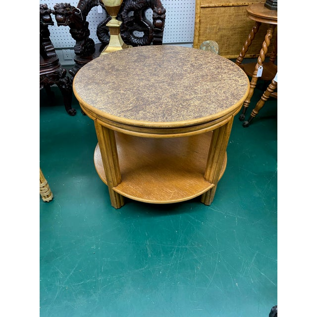 Mid-Century Modern 1960s McGuire Round Bamboo Two Tier Side Table For Sale - Image 3 of 4