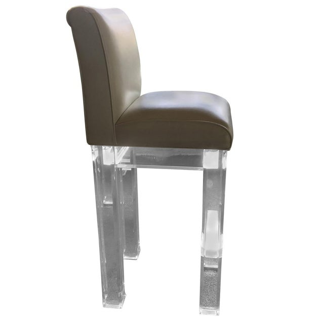 Lucite & Leather Bar Stools - Set of 4 - Image 3 of 4