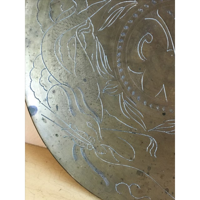 Asian Dragon Etched Brass Tray - Image 4 of 11