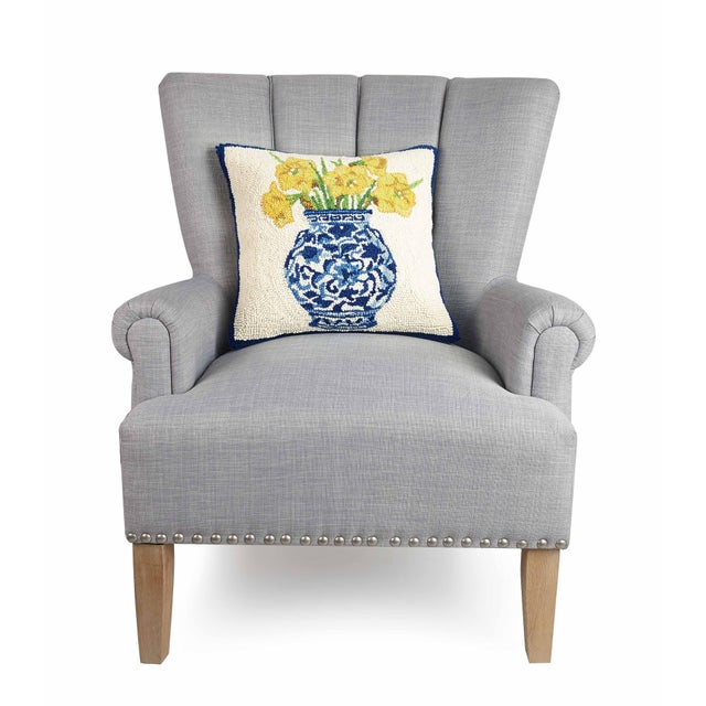 Chinoiserie Vase Daffodils Hook Pillow