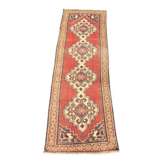 Vintage Turkish Anatolian Runner Rug - 3'x9'2""